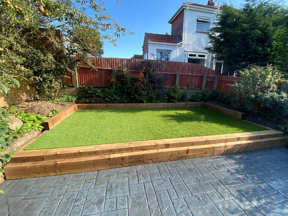 Low maintenance artificial grass lawn installed for a Blackpool customer.